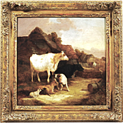 Antique 1849' oil on canvas painting Cattle near House signed illegibly