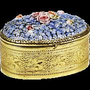 Antique German ormolu trinket jewelry hinged Box with porcelain Meissen flowers