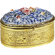 Antique German ormolu trinket jewelry hinged Box with porcelain Meissen flowers