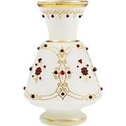 "10""H Antique Victorian Bohemian Moser white opaline glass Vase with red jewels"