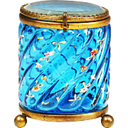 Antique French aqua blue enamelled art glass hinged trinket Box, ormolu mounts