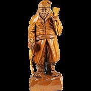 Vintage maple wood figurine Pioneer hand carved artist signed Amedee Godro