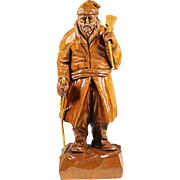Vintage maple wood figurine Pioneer hand carved artist signed Amedee Godro