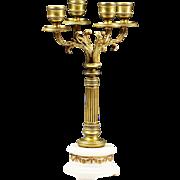 Antique French Empire gilt bronze 4 light candelabra candle holder