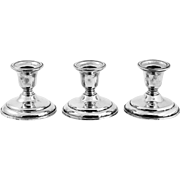 Set of 3 weighted sterling silver Candle holders