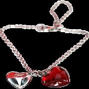 Baccarat jewelry red lead crystal & sterling silver B Mine Heart bracelet