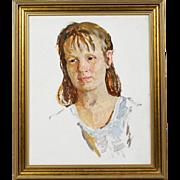Vintage Russian oil hardboard painting Portrait of Woman Social Realism USSR
