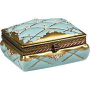 French Limoges porcelain jewelry trinket box, hinged casket