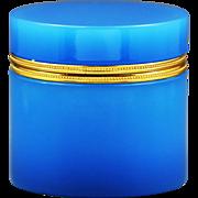 XL Antique French blue opaline crystal glass vanity trinket Box, bronze dore mounts