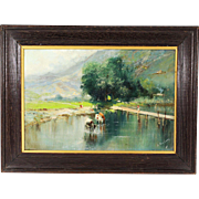 Antique oil canvas painting by Italian artist Oscar RICCIARDI (1864-1935) - Red Tag Sale Item