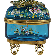Antique Moser Bohemian blue enameled applied lizard art glass Casket hinged box