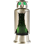 Vintage metal & green glass wine liqueur Owl Decanter with music box