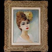 "Antique O/C oil canvas painting French artist Rival portrait ""Daughter of Paris"""