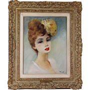 "Antique O/C oil canvas painting French artist Rival portrait ""Daughter of Paris"""