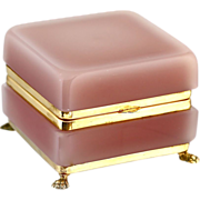 Antique pink opaline crystal glass trinket or jewelry BOX w/hinged lid and bronze dore mounts