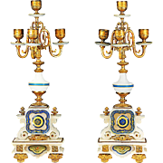 Antique French Empire 4 light candelabra Gilt bronze on enamel white onyx base