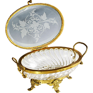 Antique French Baccarat signed crystal glass jewelry Casket in dore bronze mounts