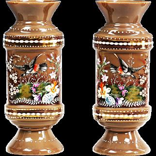 Pair of antique Bohemian opaline glass enamel Vases w/ birds butterflies flowers