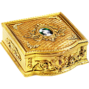Antique French gilded Bronze Box casket hand painted enamel Miniature Portrait