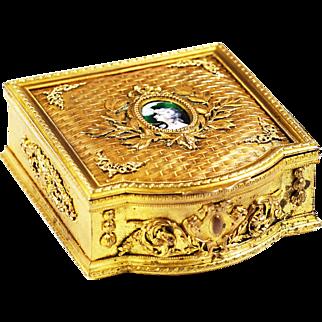 Antique French gilded Bronze Box casket hand painted enamel Miniature Portrait