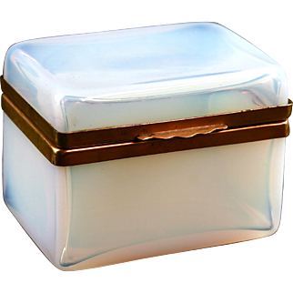 Antique French boule de savon opaline crystal glass Jewelry Box Casket hinged lid