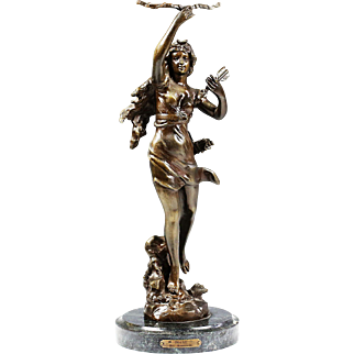 Large bronze figurine Diana woman sculpture Lady statue marble base