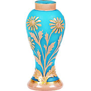 Antique French Baccarat blue opaline glass VASE cameo enameled pink flowers