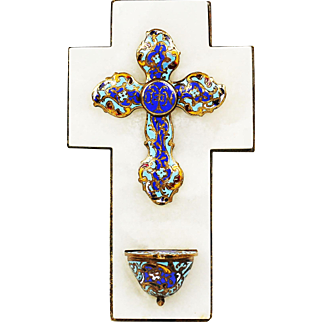 Antique French gilt bronze champleve onyx cross Holy Water Font