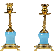 Pair of Vintage Candleholders French blue opaline glass Ormolu mounts