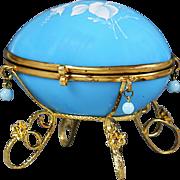Antique Victorian egg trinket Box hand painted blue opaline glass ormolu mounts
