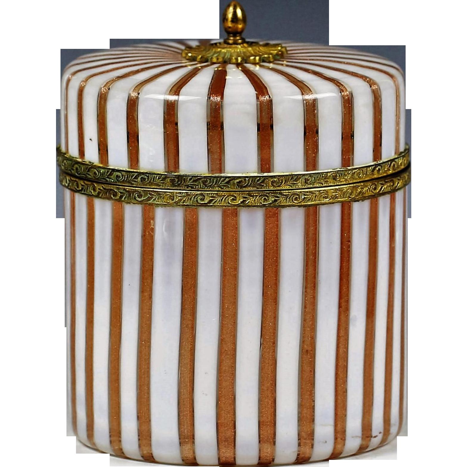XL Italy Murano copper aventurine Art Glass hinged Box brass gilt mounts