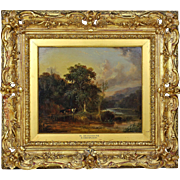 Antique 19thC oil board painting by British artist William Shayer Snr 1787–1879