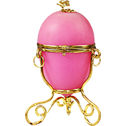 Antique French pink opaline gilt ormolu hinged Egg Box Palais Royal souvenir