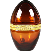 Vintage Italian Murano trinket hinged egg Box Cenedese amber glass in ormolu mounts