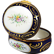 Vintage to Antique Sevres porcelain trinket hinged Box artist signed dated 1938