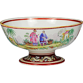 Antique Chinese mid 19th century Xlarge earthenware decorated footed Bowl