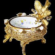 Antique French white opaline glass in bronze dore mounts Bon Bon Dish