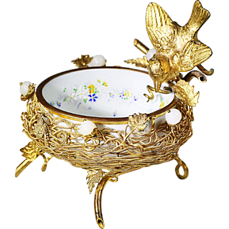 Antique French white opaline glass bowl in bronze dore mounts in form of nest w/bird