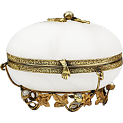 Antique French white onyx with pearls jewelery casket hinged box