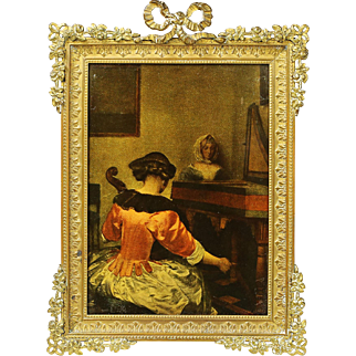 Antique French gilt bronze desk or wall mounted photo picture frame