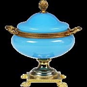 French blue opaline glass gilt ormolu lidded Tazza, candy box