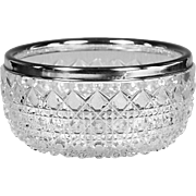 Antique French Baccarat hand cut crystal Bowl with sterling silver rim band