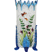 33cm Antique Bohemian blue art glass Vase hand painted flowers buterflies