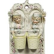 Vintage Chase hand painted wall hanging bisque porcelain twin Match holder w/ Striker
