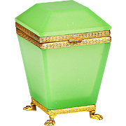 French green opaline glass hinged Casket or Box in ormolu mounts