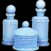 Antique French blue opaline glass Vanity set 2 perfume bottle powder box or jar