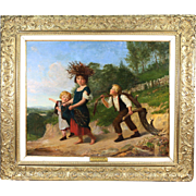 Antique oil on canvas painting by English artist Henry Woods R.A. 1846-1921
