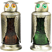 Pair of vintage mid-century metal and glass Owl shakers decanters