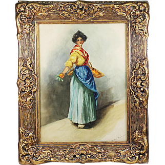 Antique watercolor painting Peasant Girl signed Kittie Granger