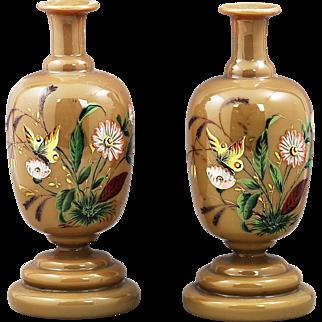 Antique caramel opaline glass Vases or bottle w/ enamel butterflies and flowers